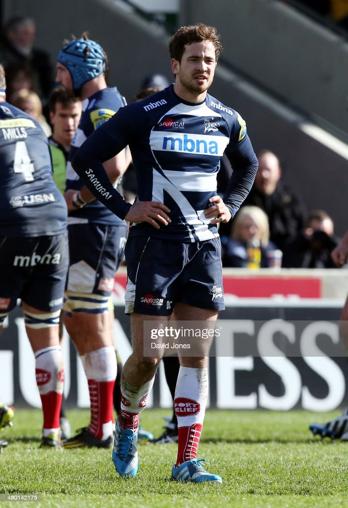 Danny Cipriani of Sale Sharks during the Aviva Premiership match between Sale Sharks and Northampton Saints at A J Bell Stadium on March 22, 2014 in Salford, England