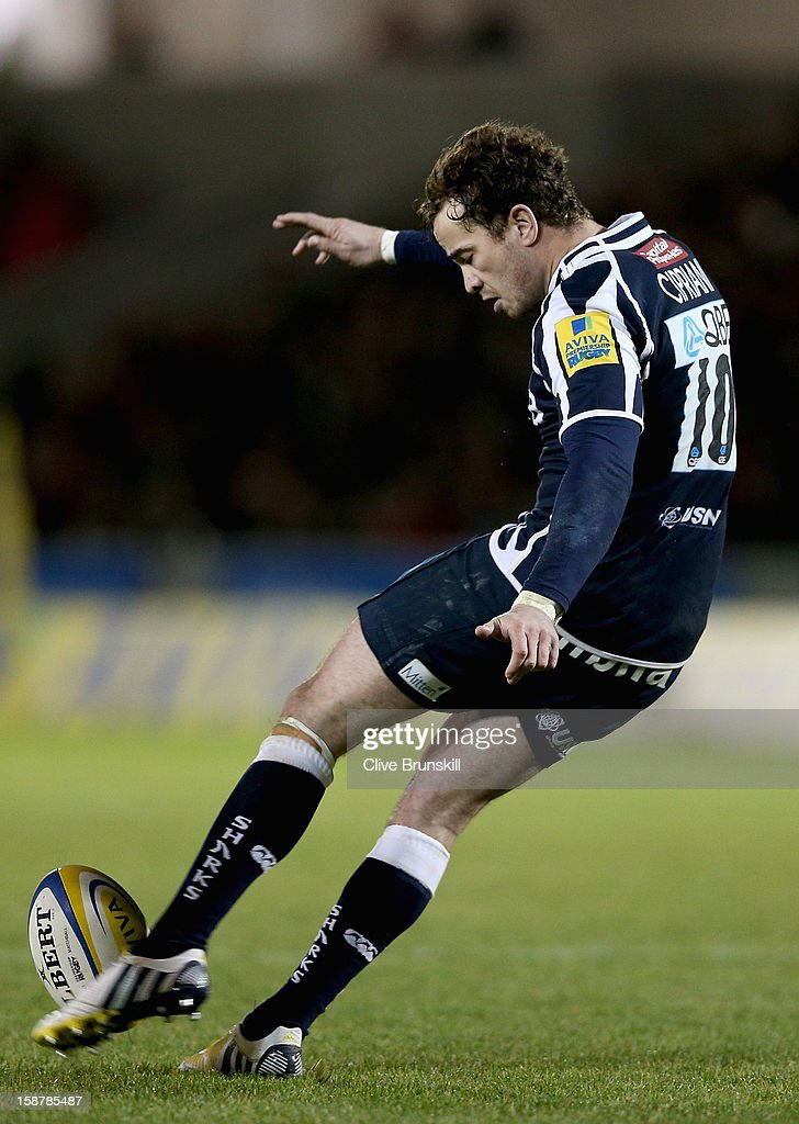 Danny Cipriani of Sale Sharks in action during the Aviva Premiership match between Sale Sharks and Worcester Warriors at Salford City Stadium on December 28, 2012 in Salford, England.