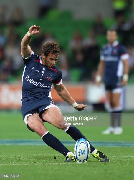 Danny Cipriani of the Rebels kicks the winning penalty during the round two Super Rugby match between the Melbourne Rebels and the Brumbies at AAMI...