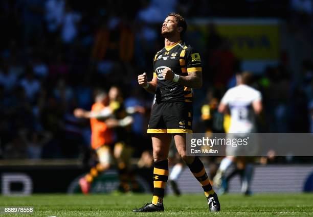 Danny Cipriani of Wasps celebrates his sides second try during the Aviva Premiership Final between Wasps and Exeter Chiefs at Twickenham Stadium on...