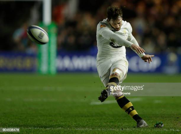 Danny Cipriani of Wasps converts a try during the European Rugby Champions Cup match between Harlequins and Wasps at Twickenham Stoop on January 13...
