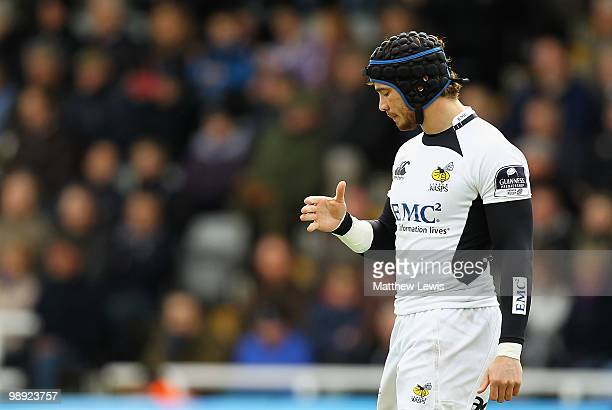 Danny Cipriani of Wasps looks at his injured hand during the Guinness Premiership match between Newcastle Falcons and London Wasps at Kingston Park...