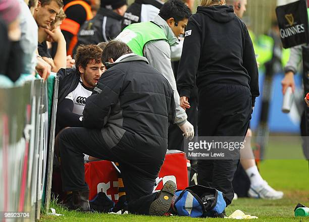 Danny Cipriani of Wasps looks receives treatment to his hand during the Guinness Premiership match between Newcastle Falcons and London Wasps at...