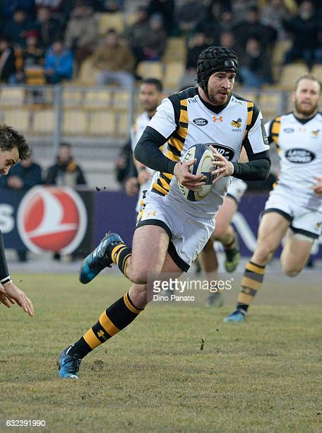 Danny Cipriani of Wasps runs in to score a second try during the European Rugby Champions Cup match between Zebre Rugby and Wasps at Stadio Sergio...