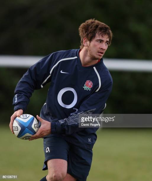 Danny Cipriani the England fullback runs with the ball during the England training session held at Bath University on March 4 2008 in Bath England