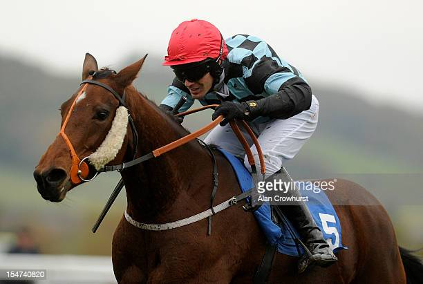 Danny Cook riding Rano Pano clear the last to win The Racing Welfare Week Juvenile Selling Hurdle Race at Ludlow racecourse on October 25 2012 in...