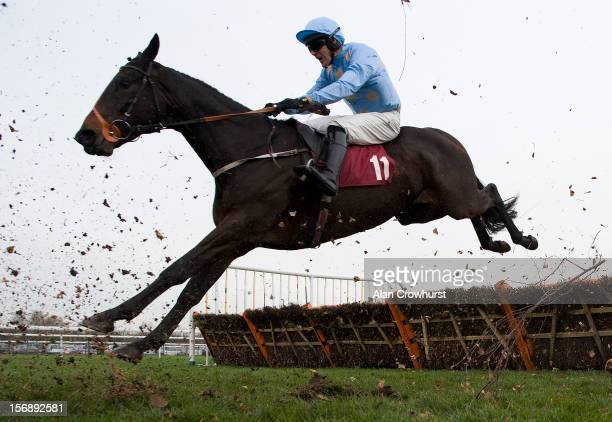 Danny Cook riding Yesyoucan clear the last to win the Try Racing Fixed Odds On Betfair Handicap Hurdle Race at Haydock racecourse on November 24 2012...