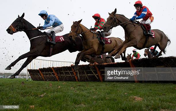 Danny Cook riding Yesyoucan on their way to winning the Try Racing Fixed Odds On Betfair Handicap Hurdle Race at Haydock racecourse on November 24...