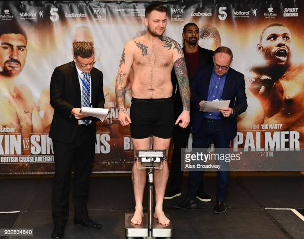 Danny Couzens attends the Hayemaker Ringstar Weigh In at The Park Plaza Victoria on March 16 2018 in London England The Double Header Fight Night...
