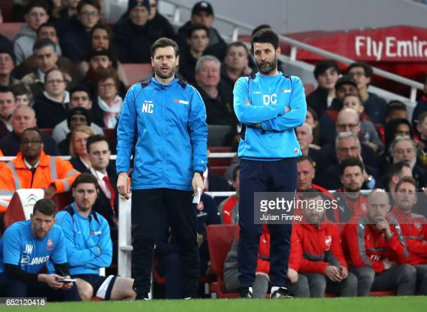 Danny Cowley Danny Cowley manager of Lincoln City and Nicky Cowley assistant manager of Lincoln City look on during The Emirates FA Cup QuarterFinal...