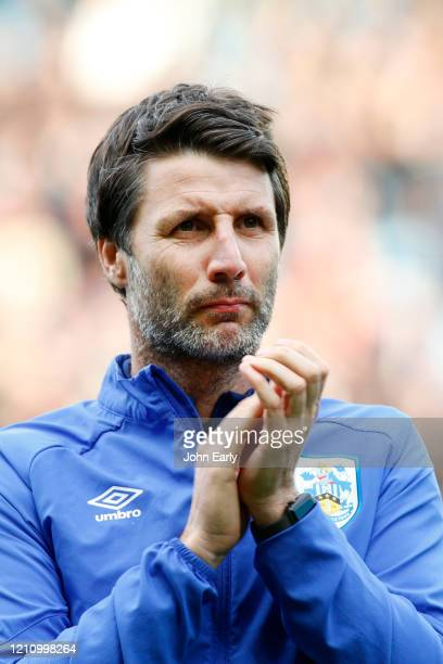 Danny Cowley Manager of Huddersfield Town applauds the away fans after losing the Sky Bet Championship match between Leeds United and Huddersfield...