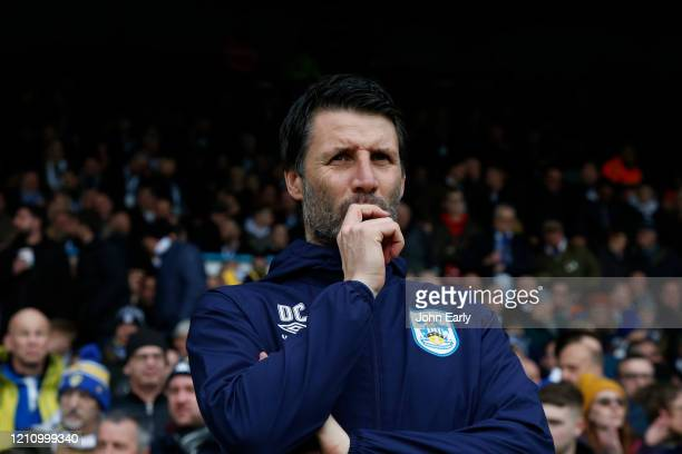 Danny Cowley Manager of Huddersfield Town looks thoughtful as his team loses during the Sky Bet Championship match between Leeds United and...