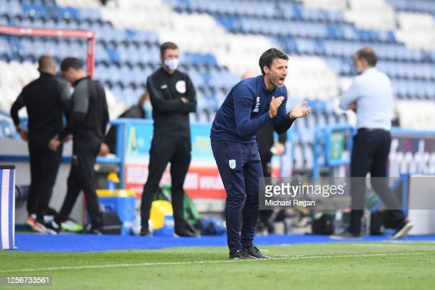 Danny Cowley Manager of Huddersfield Town reacts during the Sky Bet Championship match between Huddersfield Town and West Bromwich Albion at John...
