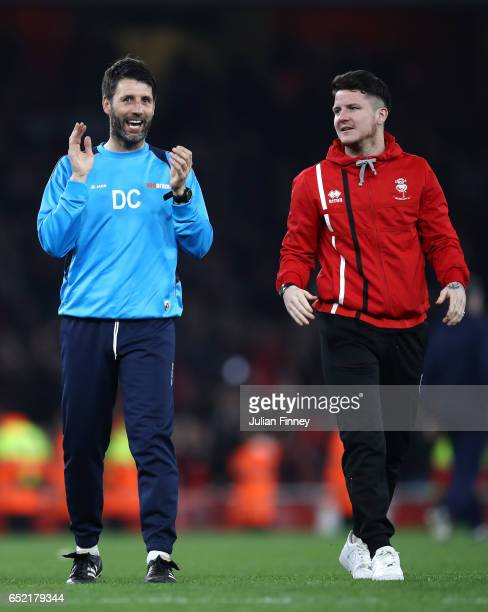 Danny Cowley manager of Lincoln City after the full time whistle in The Emirates FA Cup QuarterFinal match between Arsenal and Lincoln City at...