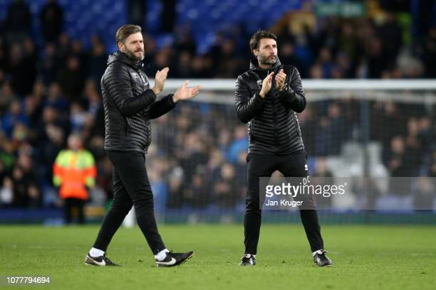 Danny Cowley Manager of Lincoln City and Nicky Cowley Assistant Manager of Lincoln City acknowledges the fans following their sides defeat in the FA...