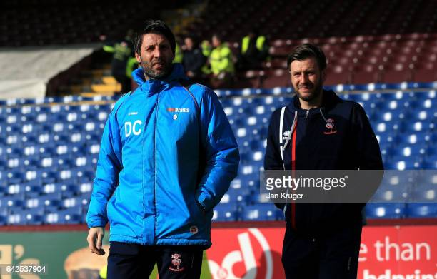 Danny Cowley manager of Lincoln City and Nicky Cowley assistant manager of Lincoln City arrive at the stadium prior to The Emirates FA Cup Fifth...