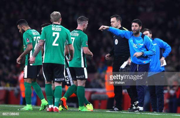 Danny Cowley manager of Lincoln City gives instructions during The Emirates FA Cup QuarterFinal match between Arsenal and Lincoln City at Emirates...
