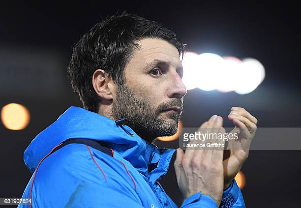 Danny Cowley manager of Lincoln City looks on during the Emirates FA Cup third round replay between Lincoln City and Ipswich Town at Sincil Bank...