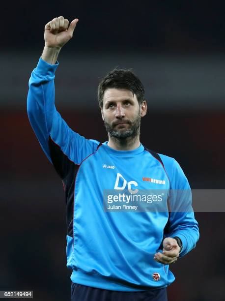 Danny Cowley manager of Lincoln City shows appreciation to the fans after The Emirates FA Cup QuarterFinal match between Arsenal and Lincoln City at...