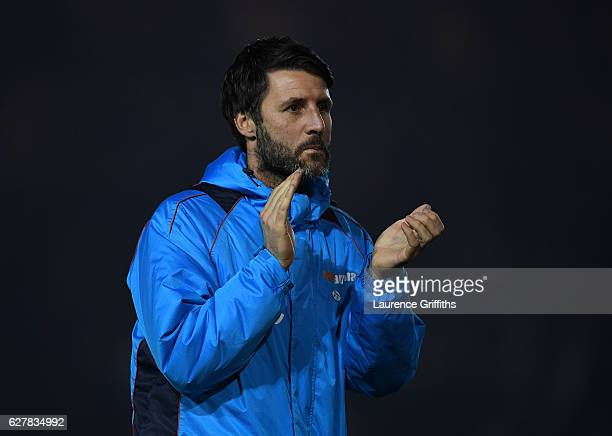 Danny Cowley of Lincoln City looks on during the Emirates FA Cup Second Round match between Lincoln City and Oldham Athletic at Sincil Bank Stadium...