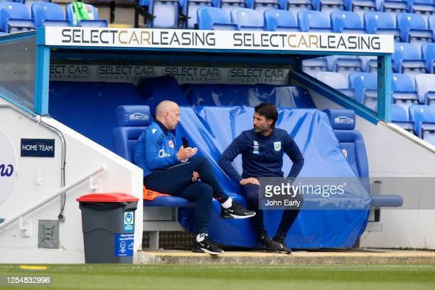 Danny Cowley the Manager of Huddersfield Town and Mark Bowen the manger of Reading FC during the Sky Bet Championship match between Reading and...