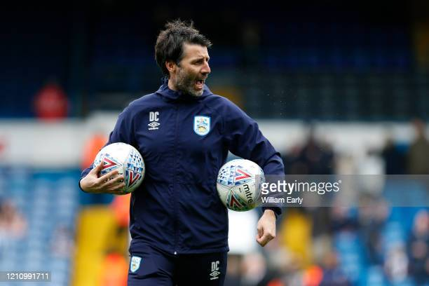 Danny Cowley the manager of Huddersfield Town during the Sky Bet Championship match between Leeds United and Huddersfield Town at Elland Road on...