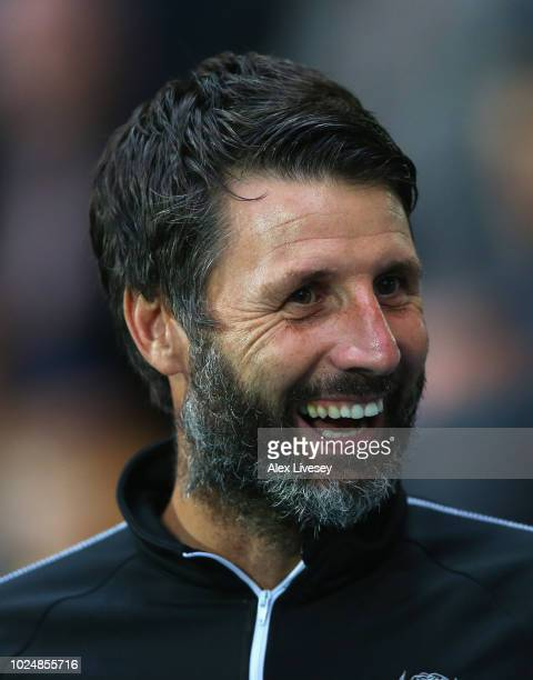 Danny Cowley the manager of Lincoln City looks on during the Carabao Cup Second Round match between Blackburn Rovers and Lincoln City at Ewood Park...