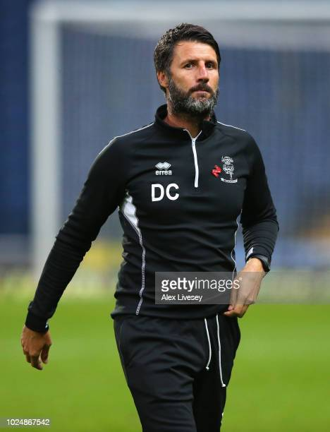Danny Cowley the manager of Lincoln City looks on prior to the Carabao Cup Second Round match between Blackburn Rovers and Lincoln City at Ewood Park...