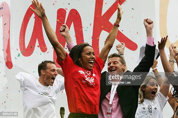 Danny Crates Dame Kelly Holmes and Steve Cram jump for joy as they hear the good news that London win the Olympic 2012 bid during the Public Viewing...