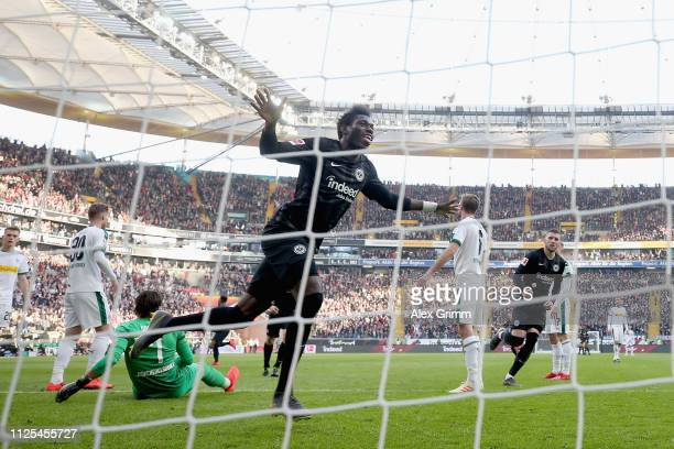 Danny da Costa of Eintracht Frankfurt celebrates his goal during the Bundesliga match between Eintracht Frankfurt and Borussia Moenchengladbach at...