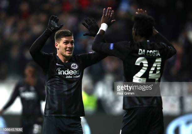 Danny Da Costa of Eintracht Frankfurt celebrates his sides third goal with Luka Jovic of Eintracht Frankfurt during the UEFA Europa League Group H...