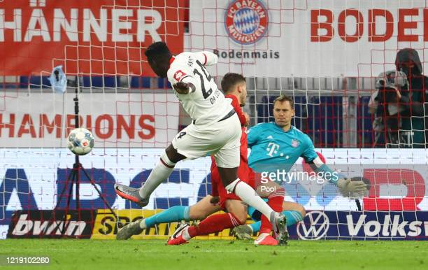 Danny da Costa of Eintracht Frankfurt scores his sides first goal during the DFB Cup semifinal match between FC Bayern Muenchen and Eintracht...