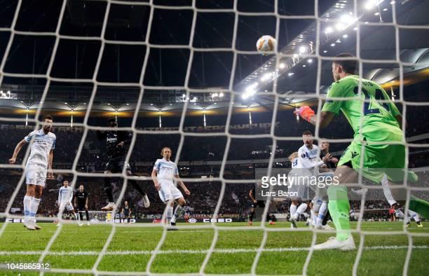 Danny Da Costa of Eintracht Frankfurt scores his team's first goal during the UEFA Europa League Group H match between Eintracht Frankfurt and SS...