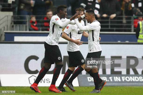 Danny da Costa of Frankfurt celebrates with Jonathan de Guzman of Frankfurt after he scored a goal to make it 1:0 during the Bundesliga match between...