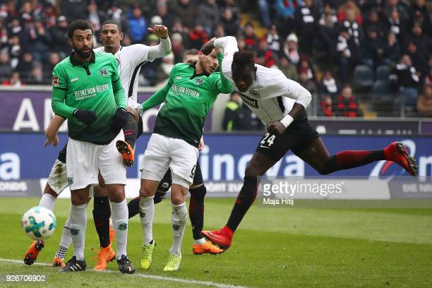 Danny da Costa of Frankfurt scores a header goal to make it 1:0 during the Bundesliga match between Eintracht Frankfurt and Hannover 96 at...