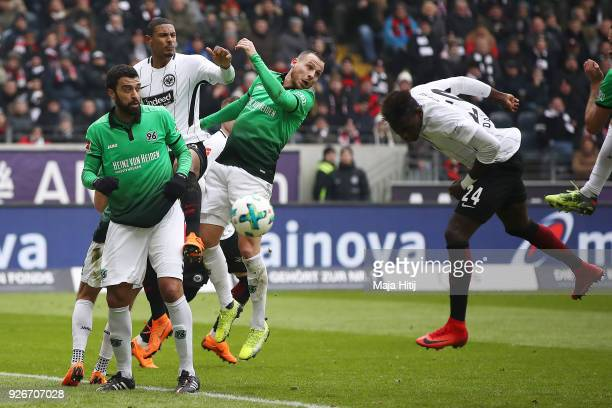 Danny da Costa of Frankfurt scores a header goal to make it 10 during the Bundesliga match between Eintracht Frankfurt and Hannover 96 at...