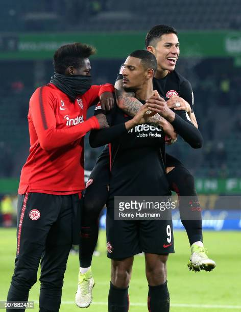 Danny da Costa Sebastian Haller and Carlos Salcedo of Frankfurt celebrate after the Bundesliga match between VfL Wolfsburg and Eintracht Frankfurt at...