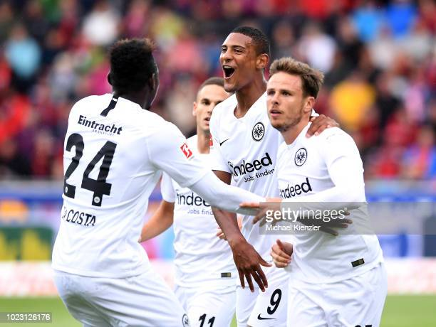 Danny da Costa Sebastien Haller and Nicolai Mueller of Eintracht Frankfurt celebrating opening goal of Nicolai Mueller during the Bundesliga match...