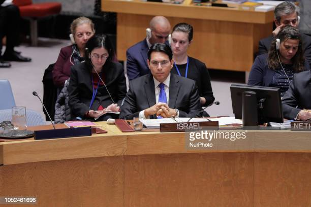 Danny Danon Permanent Representative of Israel to the United Nations during a Security Council Meeting on the situation in the Middle East including...