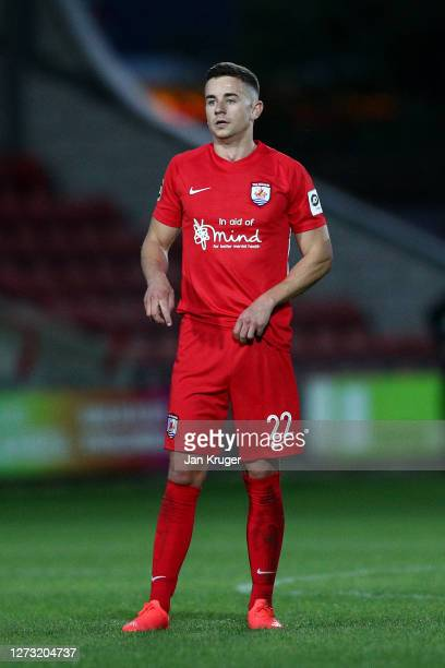 Danny Davies of Connah's Quay Nomads' during the UEFA Europa League second qualifying round match between Connahs Quay Nomads and Dinamo Tbilisi at...