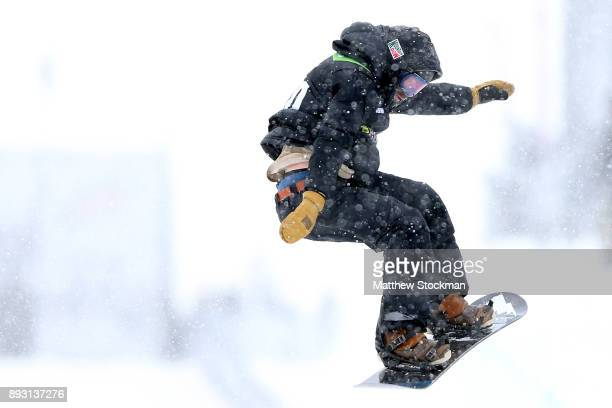 Danny Davis of the United States competes in Men's Pro Snowboard Superpipe Qualification during Day 2 of the Dew Tour on December 14 2017 in...