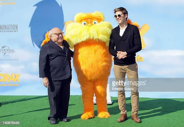 Danny De Vito and Zac Efron attend the Dr Seuss' The Lorax photocall at Casa del Cinema on March 9 2012 in Rome Italy