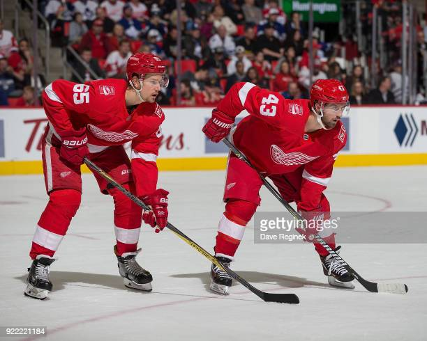 Danny DeKeyser and Darren Helm of the Detroit Red Wings gets set for the faceoff against the Toronto Maple Leafs during an NHL game at Little Caesars...