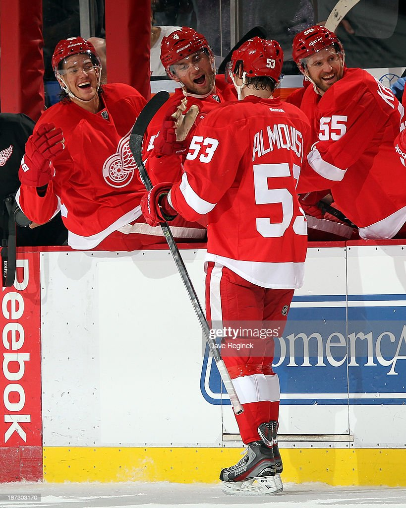 Danny DeKeyser #65, Jakub Kindl #4 and Niklas Kronwall #55 of the Detroit Red Wings, smile as teammate Adam Almquist #53 skates by the bench after scoring his first NHL goal during an NHL game against the Dallas Stars at Joe Louis Arena on November 7, 2013 in Detroit, Michigan. Dallas defeated Detroit 4-3 in OT