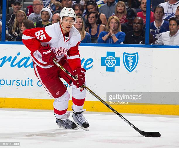 Danny DeKeyser of the Detroit Red Wings against the Tampa Bay Lightning at the Amalie Arena on March 20 2015 in Tampa Florida