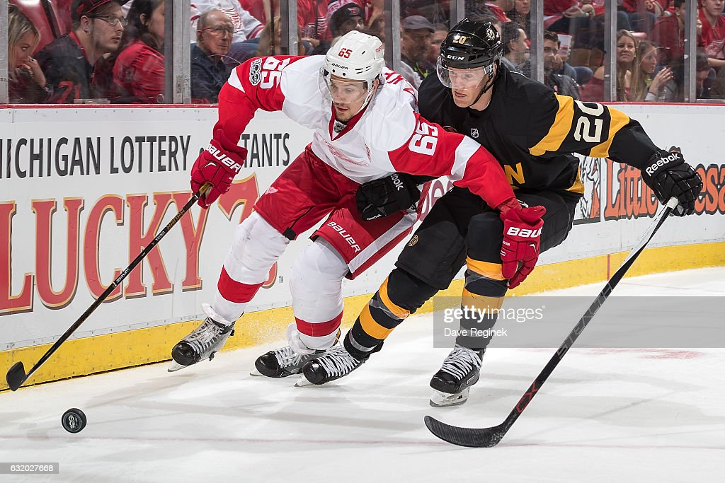 Danny DeKeyser #65 of the Detroit Red Wings battles for the puck with Riley Nash #20 of the Boston Bruins during an NHL game at Joe Louis Arena on January 18, 2017 in Detroit, Michigan.