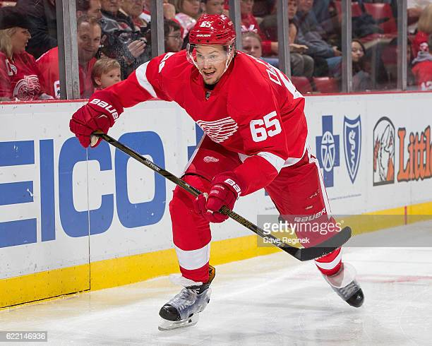 Danny DeKeyser of the Detroit Red Wings follows the play during an NHL game against Carolina Hurricanes at Joe Louis Arena on October 25 2016 in...