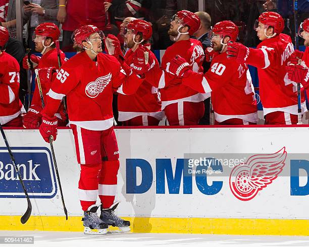 Danny DeKeyser of the Detroit Red Wings pounds gloves with teammates on the bench after his goal during the first period of an NHL game against the...