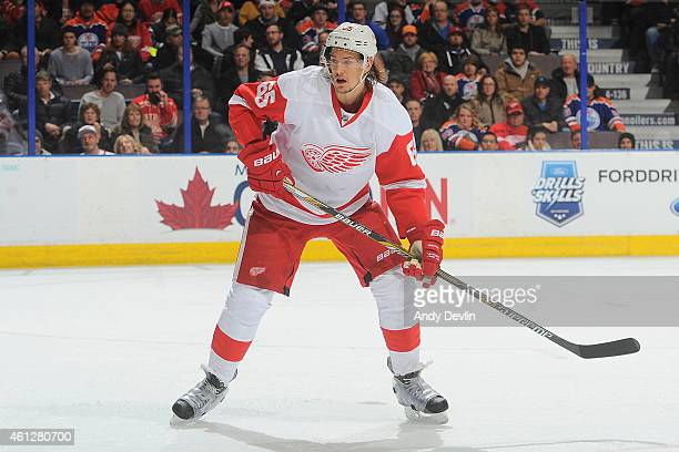 Danny DeKeyser of the Detroit Red Wings skates on the ice during the game against the Edmonton Oilers on January 6 2015 at Rexall Place in Edmonton...