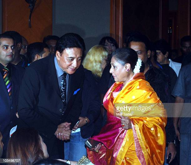 Danny Denzongpa and Jaya Bachchan during the music launch of the film 'Robot' in Mumbai on August 14 2010